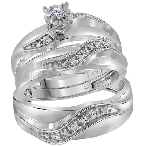 10kt White Gold His Hers Round Diamond Solitaire Matching Wedding Set 1/6 Cttw