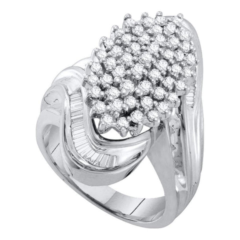 10kt White Gold Womens Round Diamond Wide Cluster Ring 1 Cttw