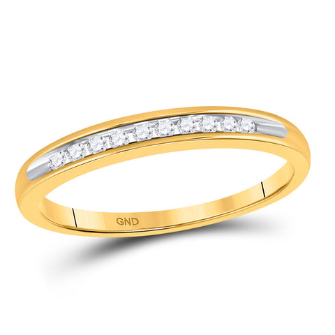 10kt Yellow Gold Womens Round Diamond Single Row Band Ring 1/10 Cttw