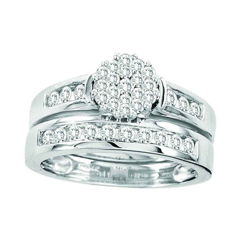 14kt White Gold Round Diamond Cluster Bridal Wedding Ring Band Set 3/4 Cttw