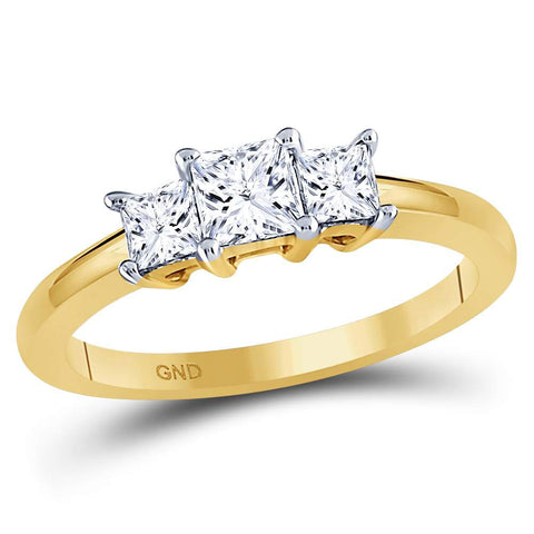 14kt Yellow Gold Princess Diamond 3-stone Bridal Wedding Engagement Ring 3/4 Cttw