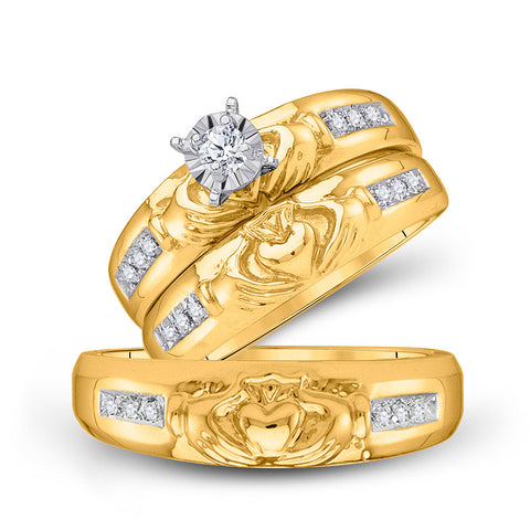 10kt Yellow Gold His Hers Round Diamond Claddagh Matching Wedding Set 1/8 Cttw