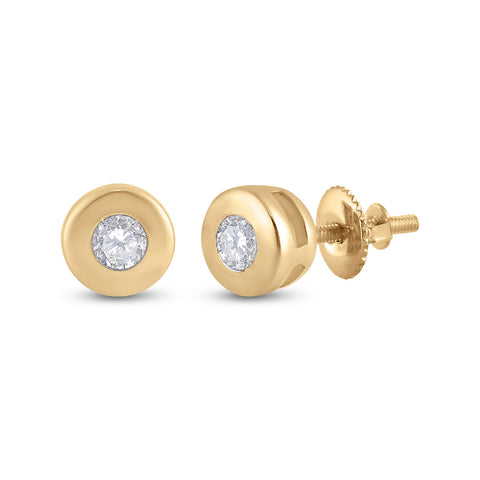 14kt Yellow Gold Womens Round Diamond Solitaire Earrings 1/10 Cttw