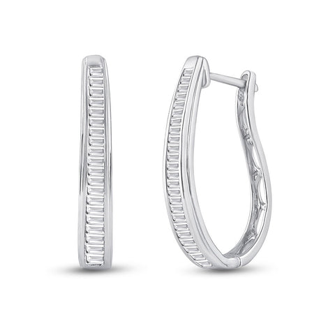 14kt White Gold Womens Baguette Diamond Hoop Earrings 1 Cttw