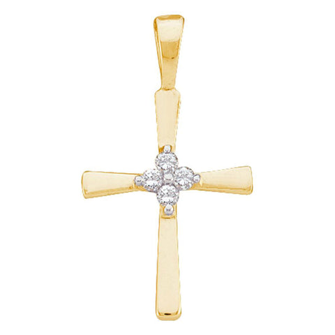 14kt Yellow Gold Womens Round Diamond Cross Pendant 1/20 Cttw