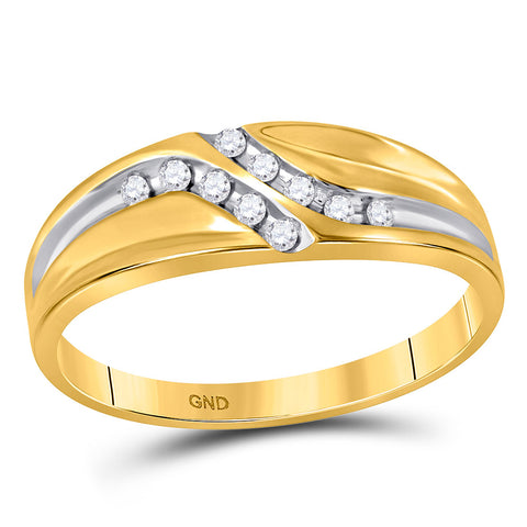 10kt Yellow Gold Mens Round Diamond Double Row Slender Wedding Band 1/8 Cttw