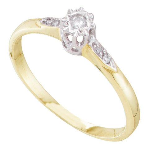 10kt Yellow Gold Round Diamond Solitaire Bridal Wedding Engagement Ring 1/20 Cttw