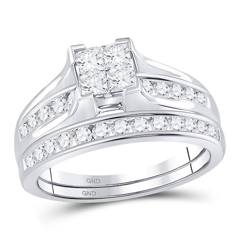 14kt White Gold Princess Diamond Bridal Wedding Ring Band Set 1 Cttw - Size 7