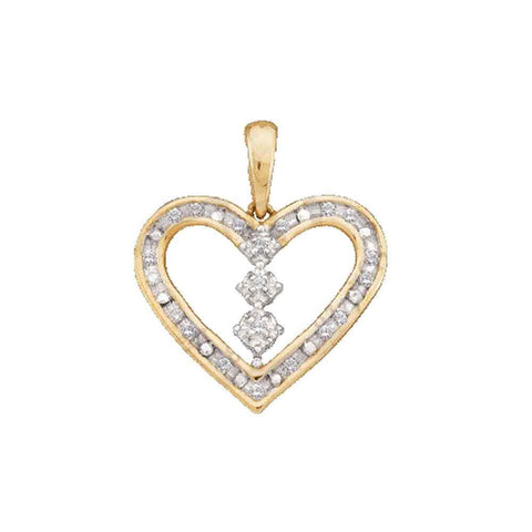 10kt Yellow Gold Womens Round Diamond Heart Pendant 1/6 Cttw