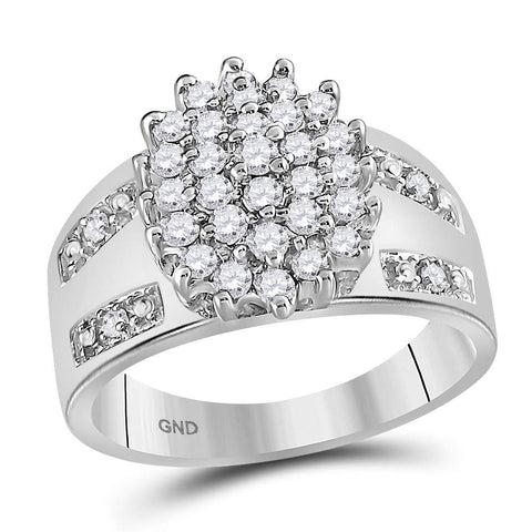 14kt White Gold Womens Round Diamond Oval Cluster Ring 1/2 Cttw