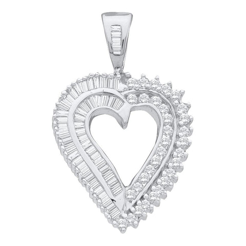 14kt White Gold Womens Round Diamond Heart Pendant 7/8 Cttw