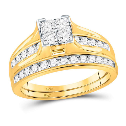 14kt Yellow Gold Princess Diamond Bridal Wedding Ring Band Set 1 Cttw - Size 7