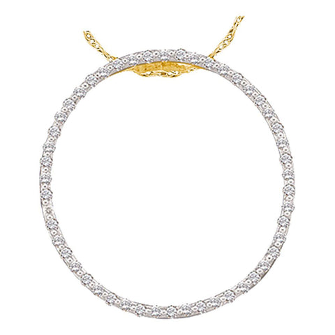 14kt Yellow Gold Womens Round Diamond Circle Pendant 1/2 Cttw