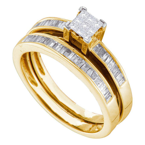 14kt Yellow Gold Princess Diamond Bridal Wedding Ring Band Set 1/2 Cttw