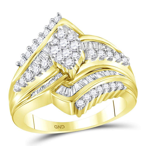 14kt Yellow Gold Round Diamond Oval Cluster Bridal Wedding Engagement Ring 1 Cttw