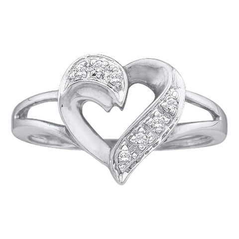 14kt White Gold Womens Round Diamond Heart Ring 1/20 Cttw