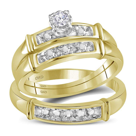 14kt Yellow Gold His Hers Round Diamond Solitaire Matching Wedding Set 1/10 Cttw