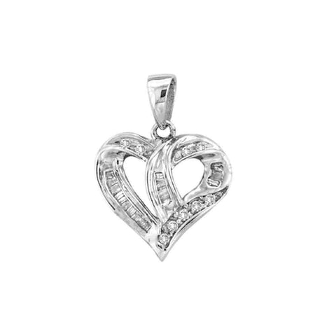 14kt White Gold Womens Round Diamond Small Heart Pendant 1/4 Cttw
