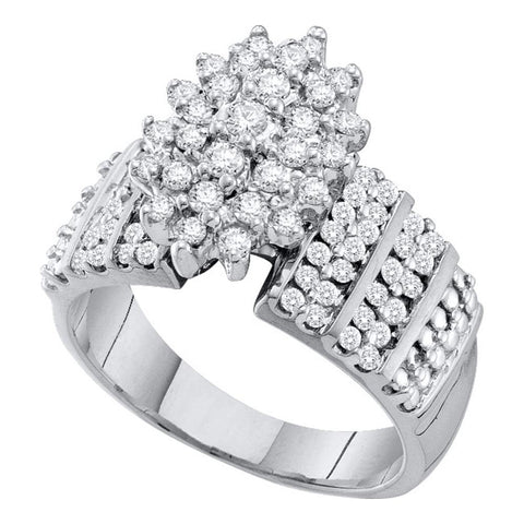 10kt White Gold Womens Round Prong-set Diamond Oval Cluster Accented-side Ring 1 Cttw