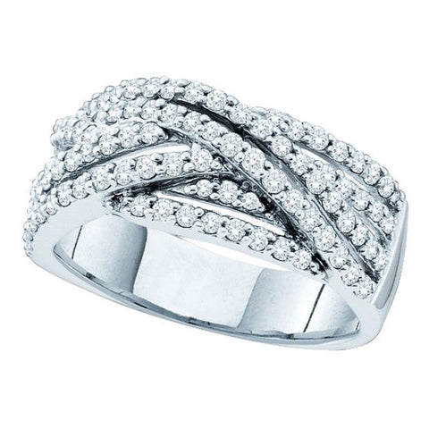 14kt White Gold Womens Round Diamond Striped Crossover Band Ring 7/8 Cttw