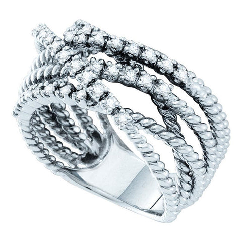 14kt White Gold Womens Round Diamond Rope Strand Band Ring 3/8 Cttw