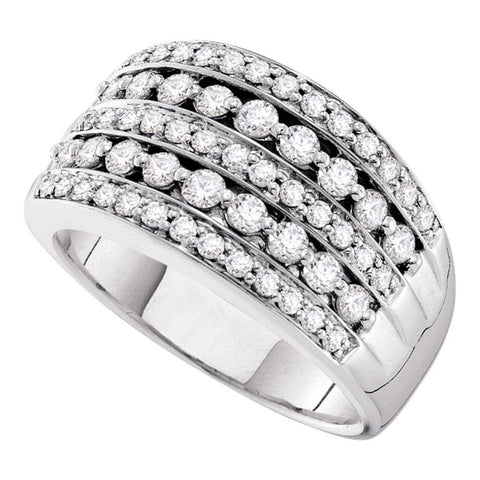 14kt White Gold Womens Round Diamond Striped Fashion Band Ring 1 Cttw