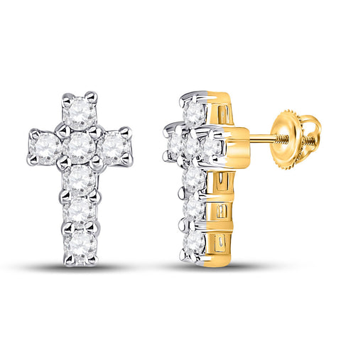10kt Yellow Gold Womens Round Diamond Roman Cross Stud Earrings 1/4 Cttw