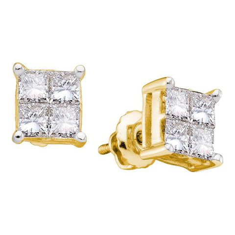 14kt Yellow Gold Womens Princess Diamond Cluster Stud Earrings 1/3 Cttw