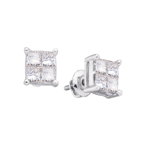 14kt White Gold Womens Princess Diamond Square Cluster Stud Earrings 1/3 Cttw
