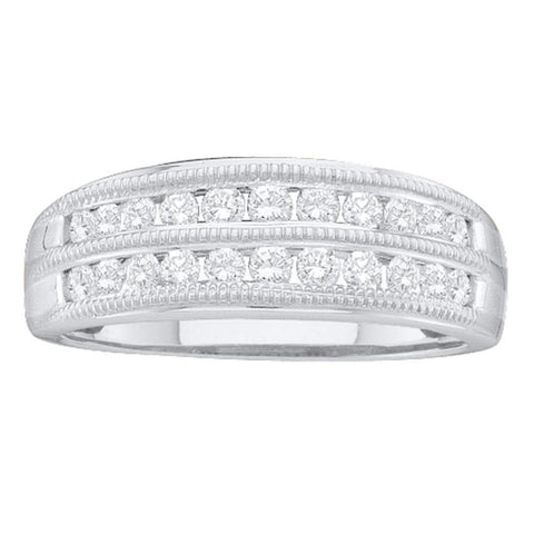 10kt White Gold Womens Round Diamond Double Row Fashion Ring 1/2 Cttw