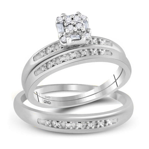 10kt White Gold His Hers Round Diamond Cluster Matching Wedding Set 1/10 Cttw