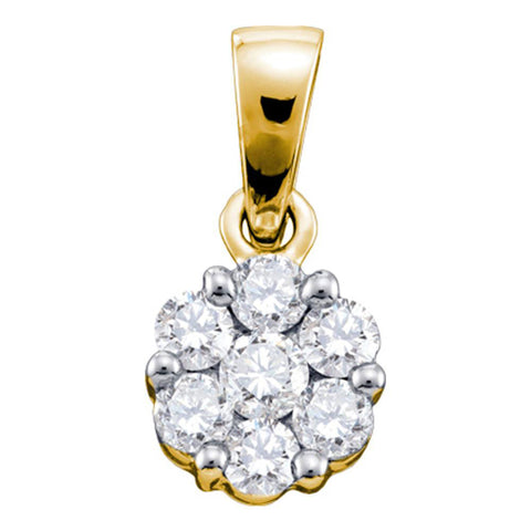 14kt Yellow Gold Womens Round Diamond Flower Cluster Pendant 3/4 Cttw