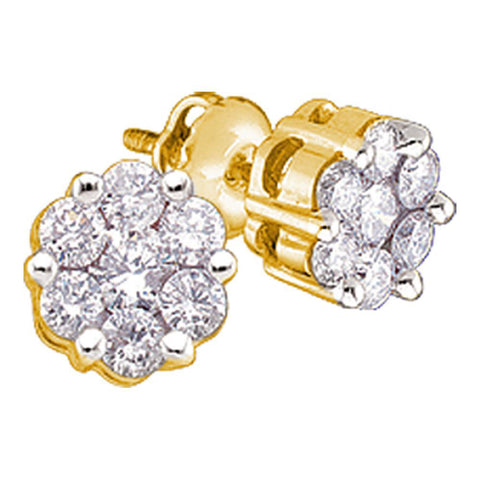 14kt Yellow Gold Womens Round Diamond Flower Cluster Stud Earrings 1 Cttw