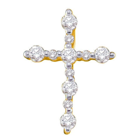 14kt Yellow Gold Womens Round Diamond Simple Cross Religious Pendant 1/3 Cttw