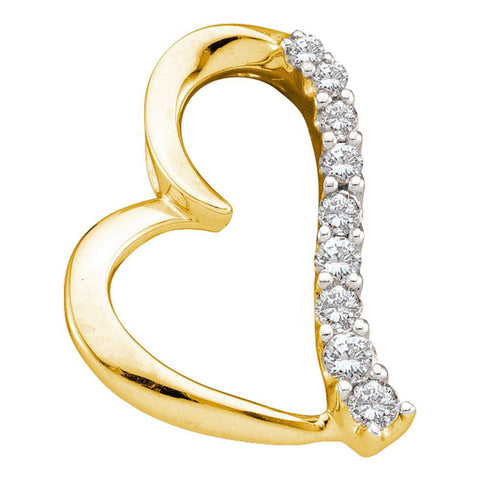 14kt Yellow Gold Womens Round Diamond Heart Pendant 1/4 Cttw
