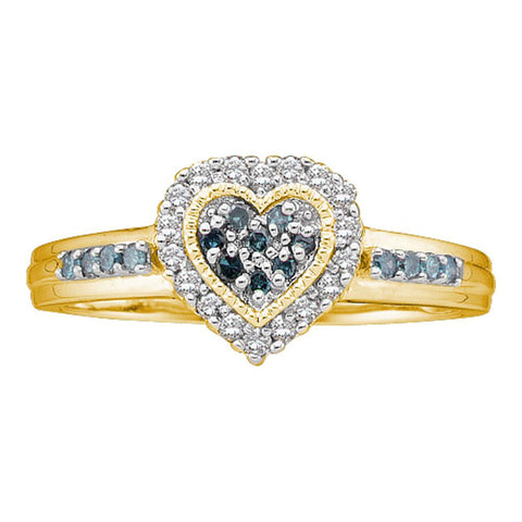 10kt Yellow Gold Womens Round Blue Color Enhanced Diamond Heart Cluster Ring 1/4 Cttw