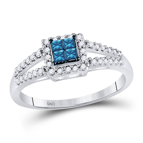 14kt White Gold Womens Princess Blue Color Enhanced Diamond Cluster Ring 1/3 Cttw