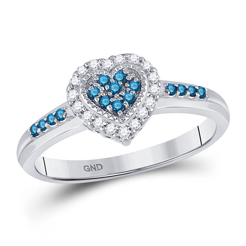 14kt White Gold Womens Round Blue Color Enhanced Diamond Heart Cluster Ring 1/4 Cttw