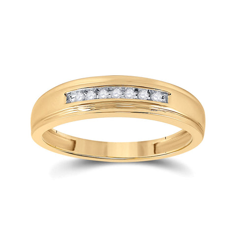 14kt Yellow Gold Mens Round Diamond Wedding Band Ring 1/12 Cttw