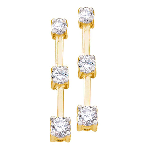 14kt Yellow Gold Womens Round Diamond 3-Stone Stick Earrings 1/2 Cttw