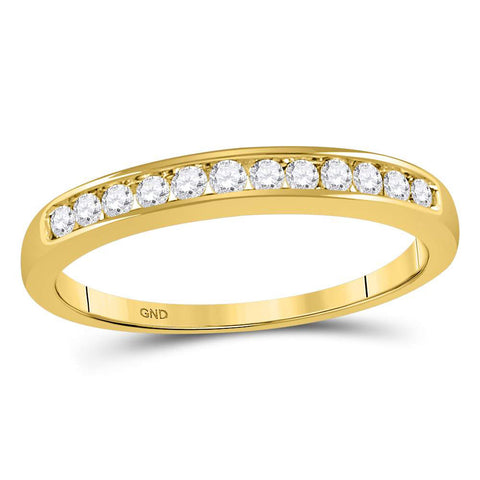 14kt Yellow Gold Womens Round Diamond Wedding Channel Set Band 1/4 Cttw Size 8