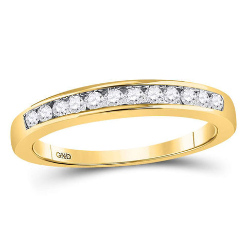 14kt Yellow Gold Womens Round Diamond Wedding Channel Set Band 1/4 Cttw Size 9