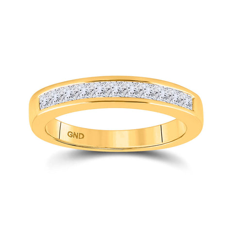 14kt Yellow Gold Womens Princess Diamond Wedding Band 1/2 Cttw Size 5