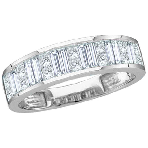 14kt White Gold Womens Baguette & Princess Diamond Wedding Anniversary Band 1 Cttw Size 5