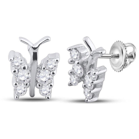 14kt White Gold Womens Round Diamond Butterfly Bug Earrings 1/3 Cttw