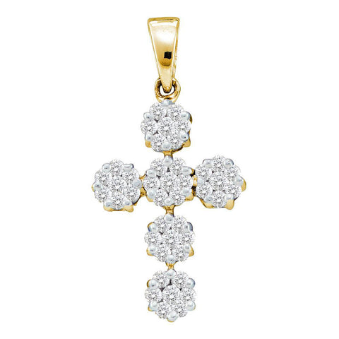 14kt Yellow Gold Womens Round Diamond Cluster Cross Religious Pendant 1/2 Cttw