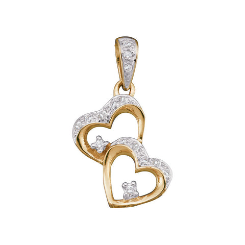 10kt Two-tone Gold Womens Round Diamond Double Heart Dangle Pendant 1/6 Cttw