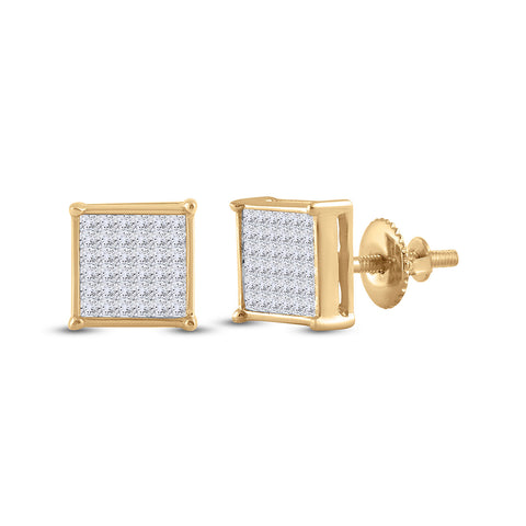 14kt Yellow Gold Womens Princess Diamond Square Earrings 1/2 Cttw