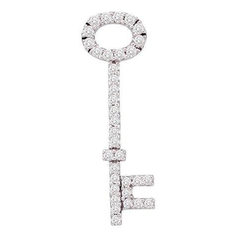 14kt White Gold Womens Round Diamond Slender Oval Key Pendant 1/2 Cttw
