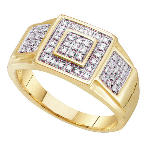 10kt Yellow Gold Mens Round Diamond Square Ring 1/4 Cttw